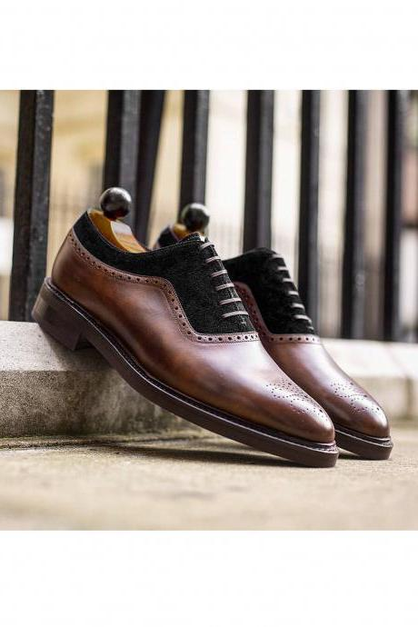 Brown Black Oxfords Leather Suede Shoes, Lace up shoes, Dress Shoes, Men's Shoes