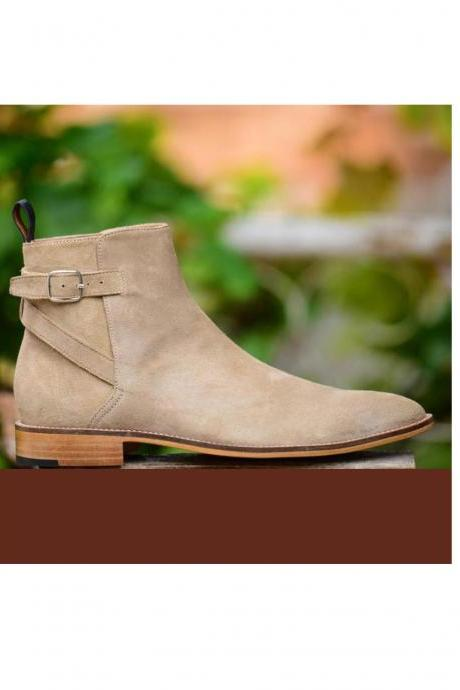 Handmade men beige jodhpurs boots men buckle suede boot
