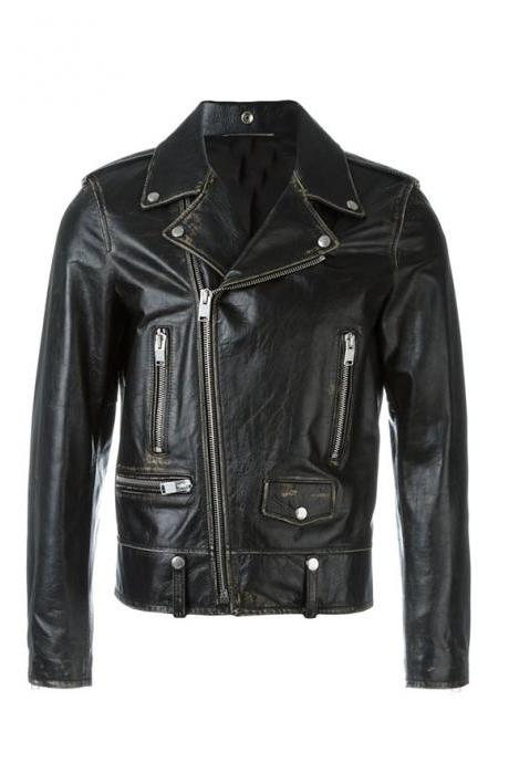 Men's Black Biker Genuine Leather Jacket, Distressed Biker Jacket Men Clothing