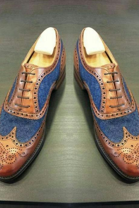 Handmade Men's Oxford Wing tip shoes, Men Blue Denim Brown Leather Dress Shoe
