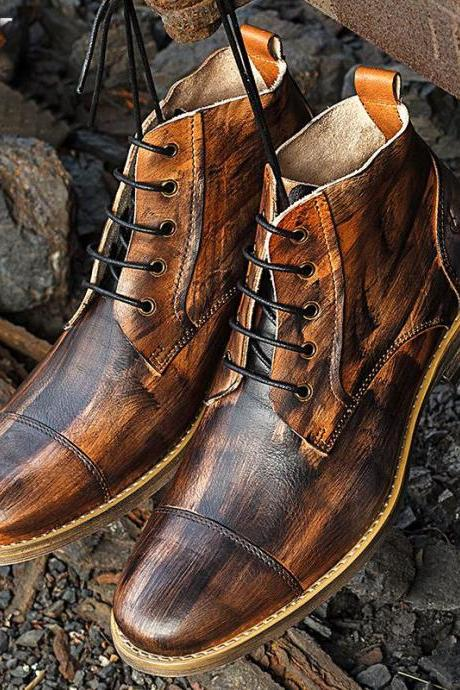 Handmade ankle high hand panted boots, Men's Brown Two Tone Digger casual Boot