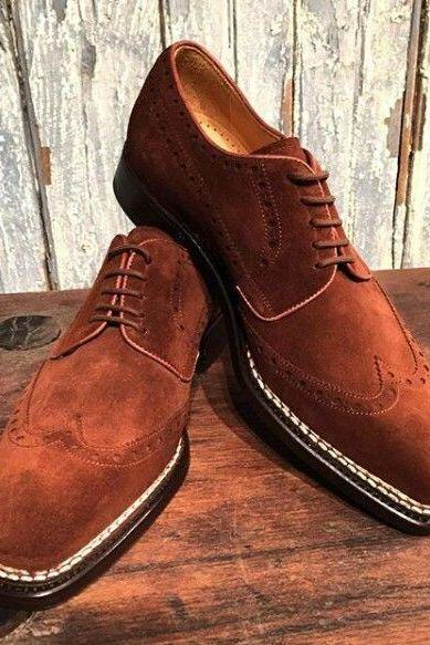 Handmade Oxford Brown Shoes, Men Suede Leather Shoes, Dress Formal Classic Shoe