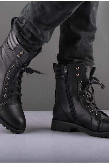 Handmade men's black Leather Boot, Men's Lace Up Dress Ankle High zipper Boot