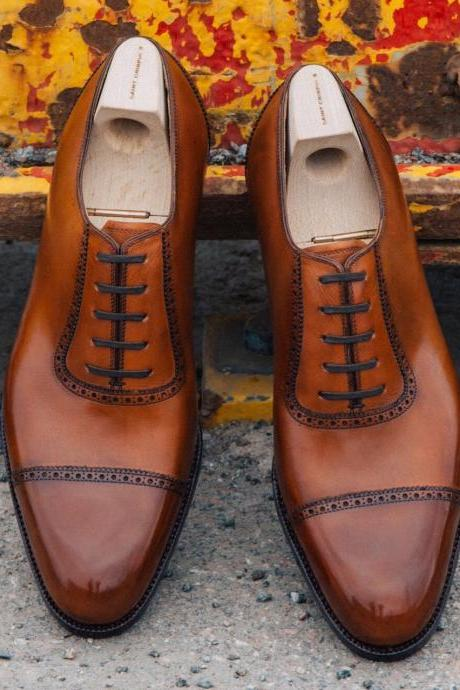 Handmade Brown Leather Men's Shoes, Men's Cap Toe Formal Lace Up Dress Shoes