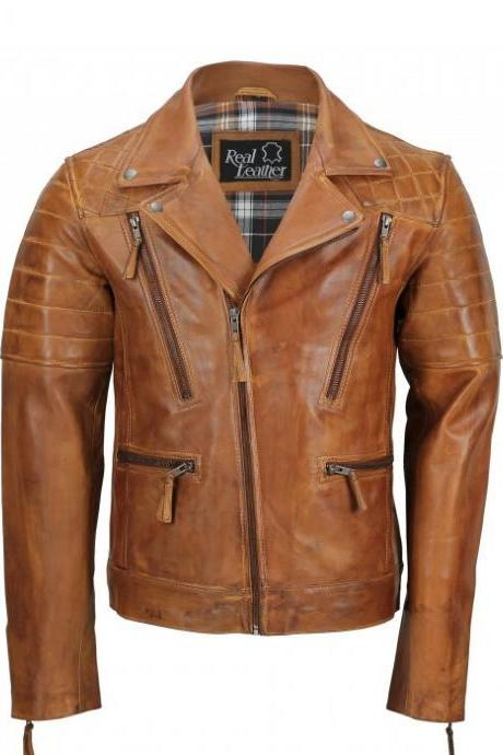 Mens Tan Sheep Leather Vintage Style Biker Fashion Casual Leather Jacket