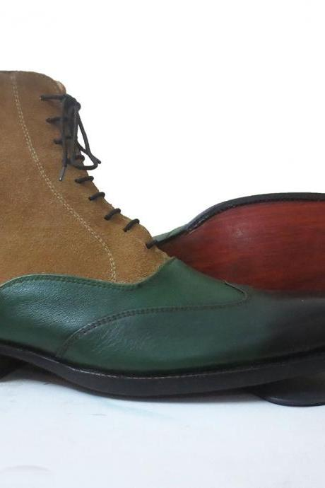 Handmade Men's Genuine Leather Boots Lace Up Wing Tip Boot, Green Color Boot