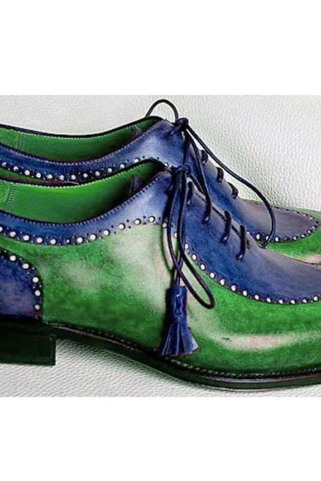 handmade 2 tone green blue shoes, men's lace up cap toe leather fashion shoes