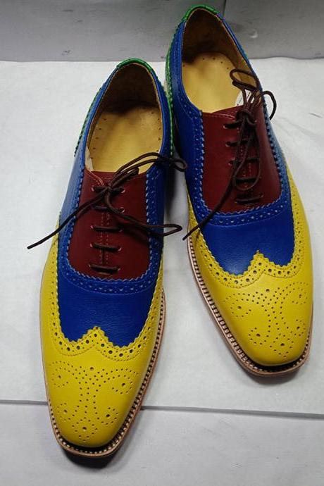 Handmade Yellow Blue Maroon Color Shoes, Men's Lace Up Wing Tip Leather Formal Shoes