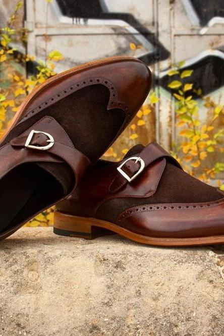 Handmade Brown Color Leather Suede Shoes, Men's Monk Wing Tip Formal Shoes