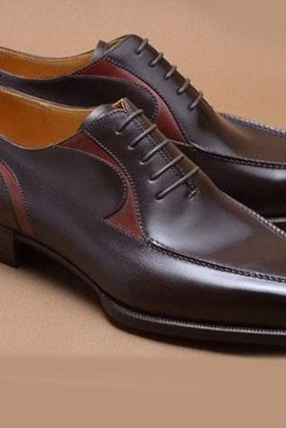 Handmade dark brown shoes, lace up dress shoes for men, men genuine leather shoes