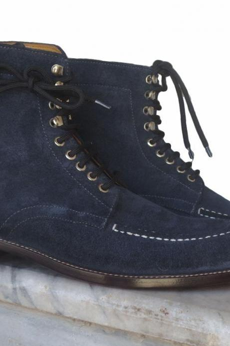 Handmade Men's Navy Blue Split Toe Suede Leather Boots, Men leather Lace Up boots