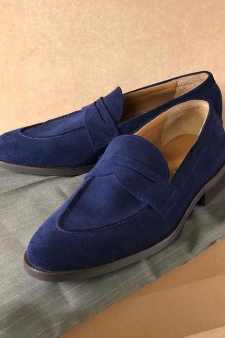 Handmade Penny Loafer Slip on Type Navy Blue Suede Shoes Men's