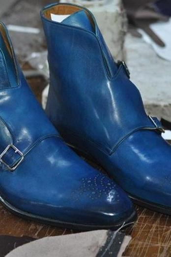 Handmade Men's Blue Brogue Strap Leather Boots, Men leather Double Monk boots
