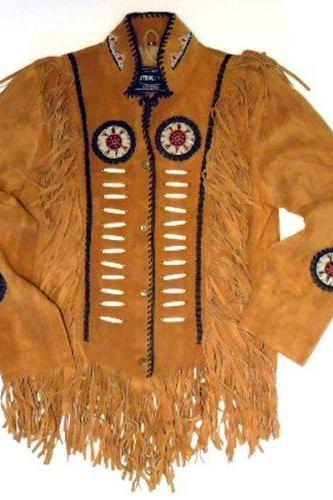 Western BROWN LEATHER NATIVE AMERICAN STYLE TASSEL JACKET : All size available