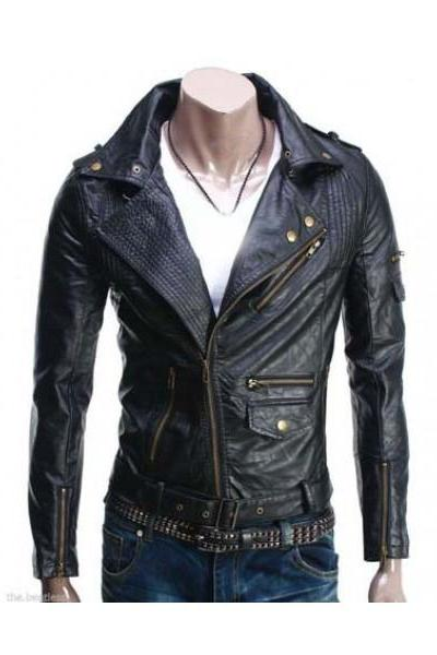 Men's Biker black Leather Jacket Slim Fit Fashion jacket