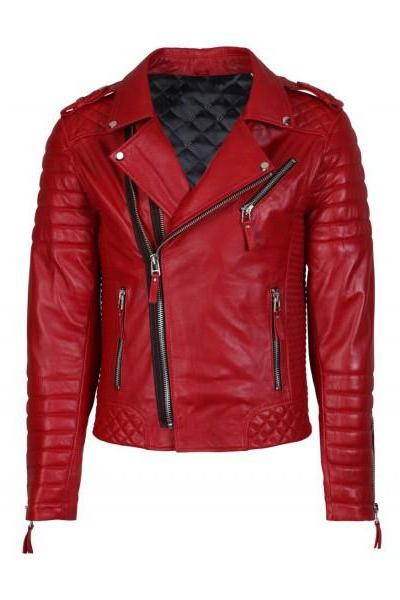 MEN'S RED FASHAN SLIM FiIT LEATHER JACKET FOR MEN'S