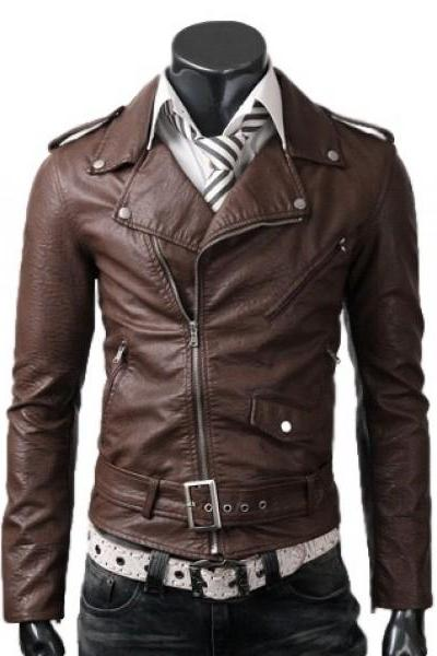 Hand Made Brown Men's Slim- Fit Leather Jacket
