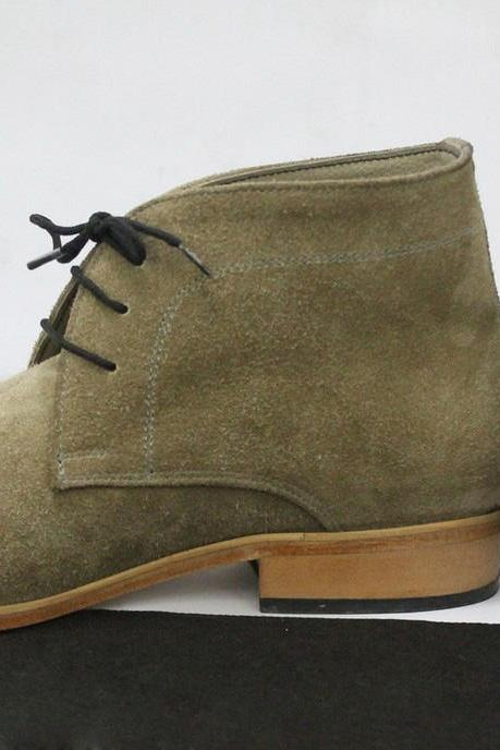 Handmade Mens olive Green Chelsea Suede Leather Boots, Men leather boots