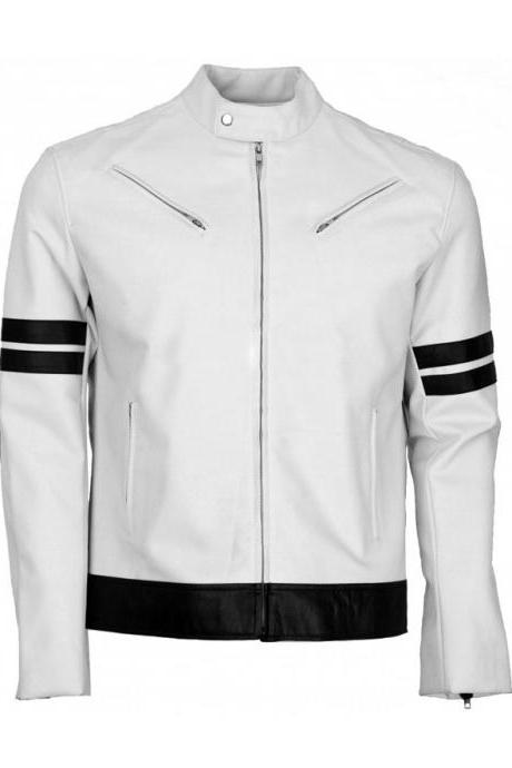 MEN'S WHITE FASHAN SLIM FiIT LEATHER JACKET FOR MEN'S