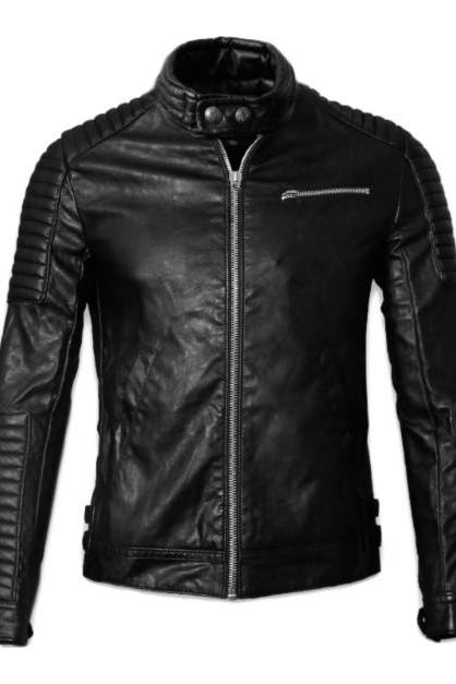 MEN'S MOTORCYCLE LEATHER JACKET, MENS LEATHER JACKET