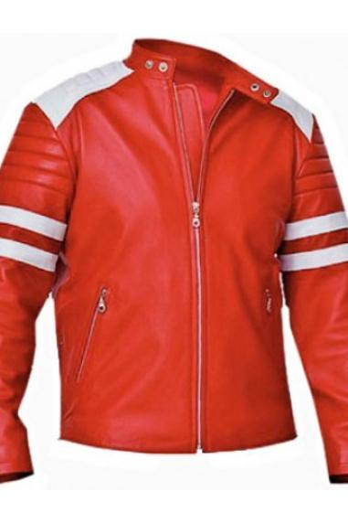 Red Leather Jacket , Celebrity Jacket