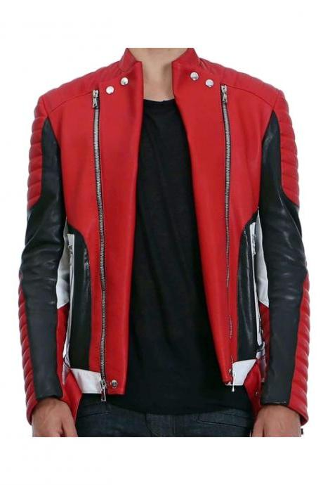 BALMAIN QUILTED LEATHER BIKER JACKET MEN - NEW SPECIAL