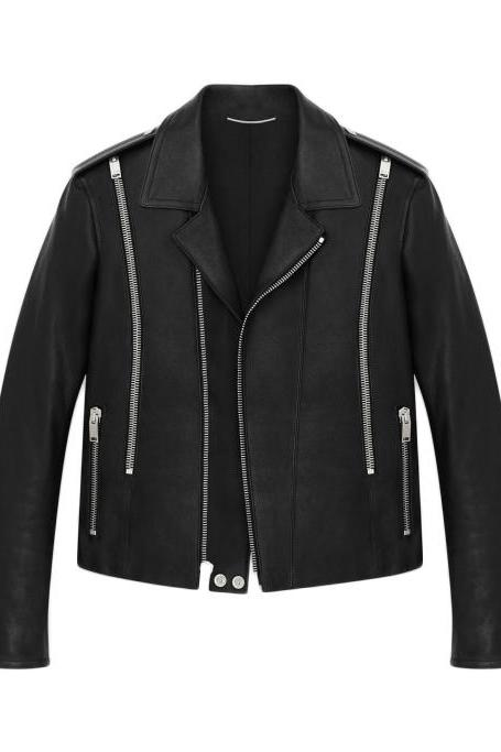 YSL L15 SIGNATURE ZIP LEATHER JACKET - NEW SPECIAL JACKET MEN