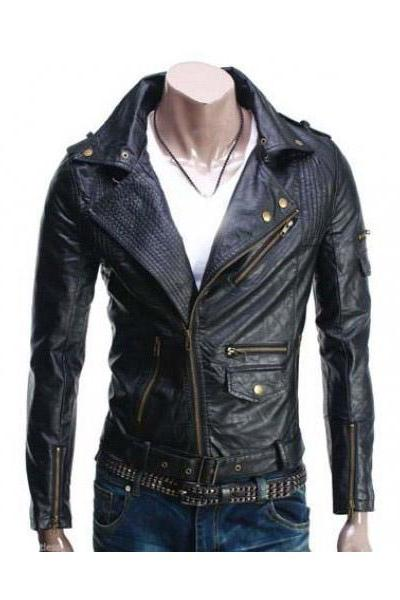 Mens Biker black Leather Jacket Slim Fit , Mens Leather jacket