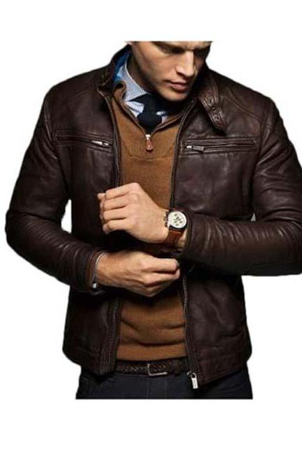 MEN'S SLIM FIT LEATHER JACKET, CELEBRITY MEN LEATHER JACKET
