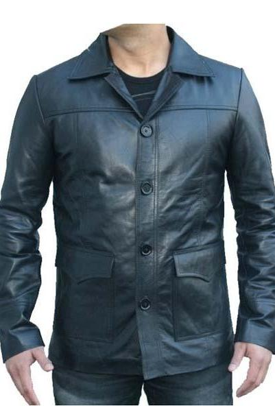 Fight Club Black Leather Jacket Mens Bikers/Coat Buttons, Mens Leather jacket