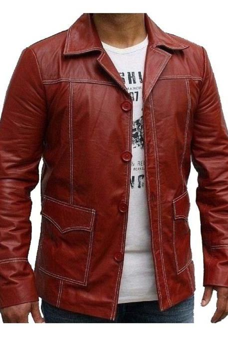 Fight Club Genuine Red Leather Jacket, MEN LEATHER JACKET