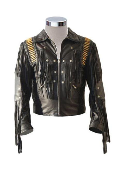 Men's Bluish Black Suede Western Cowboy Leather Jacket Fringe Bones