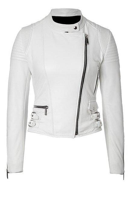 Womens Fashion Genuine Leather Jacket White Sine Pulp Grain Sheepskin