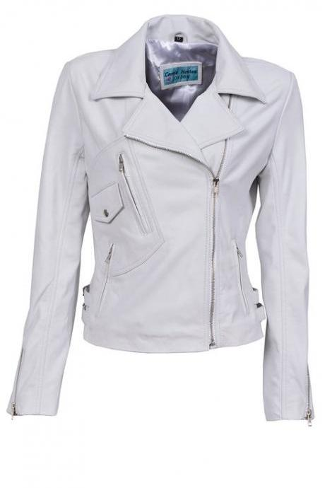 Ladies BRANDO White Biker Style Motorcycle Soft Sheep Leather Jacket