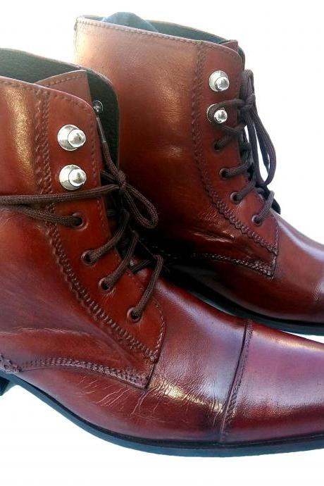 HANDMADE MEN'S BROWN LEATHER LACE-UP BOOTS, ANKLE HIGH MENS LEATHER BOOT