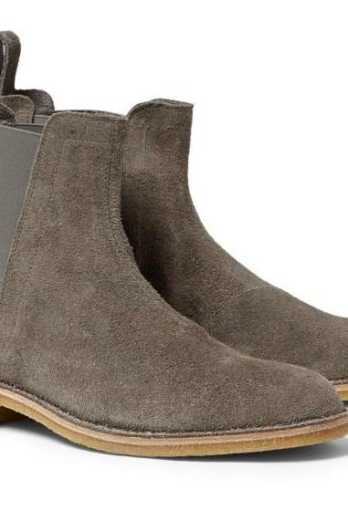 Handmade Men's Gray Color Chelsea Suede Leather Boots, Men Boots