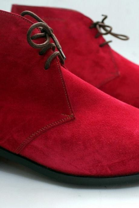 Handmade Mens RED Chelsea Suede Leather Boots Men leather boot