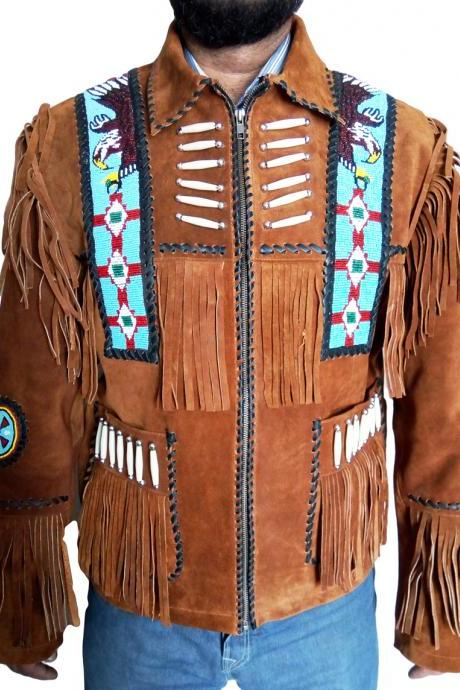 Cow boy Native Brown Western Fashion Native Suede Jacket Beaded Bones & Fringes