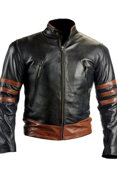 Slim Fit Biker Style Brown X-MEN Wolverine Black Leather Jacket