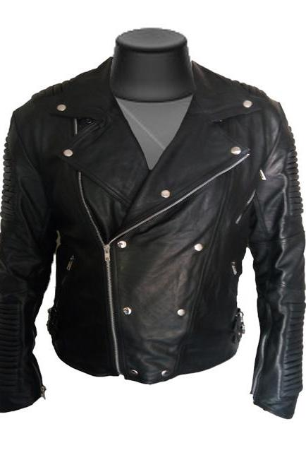 Men Black Ribbed Bailman Style Fashion Leather Jacket Men