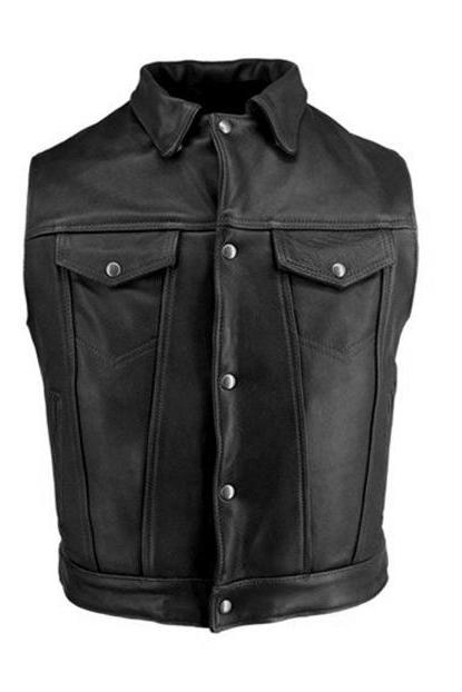 Men Black Mens Stylish Black Biker Leather Vest