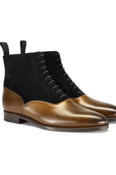 Handmade Men's Brown Black Chelsea Suede & Leather Boots