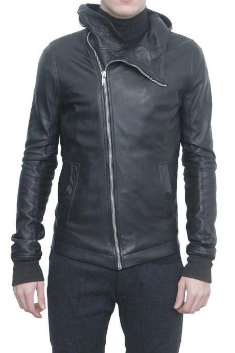 Men Black Leather Bullet Jacket, Mens Leather Jacket