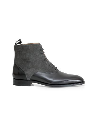 Made to Order Handmade Leather Black Ankle High Shoes Leather Sole