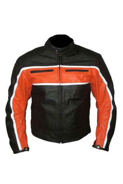 Motorbike Black Orange Black Leather Jacket For Men
