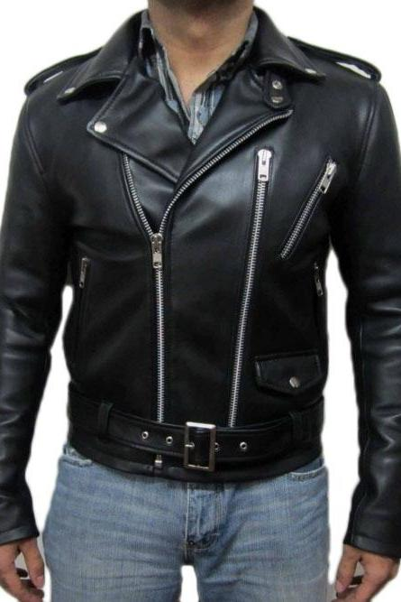 YSL SIGNATURE MOTORCYCLE LEATHER JACKET .MEN LEATHER JACKET