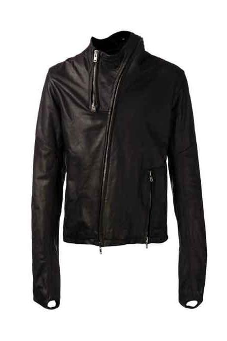 MEN ASYMMETRICAL ZIP REAL LAMB LEATHER JACKET FOR MEN