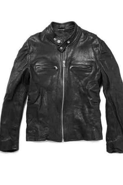 LAMBSKIN WASHED LEATHER BIKER JACKET FOR MEN