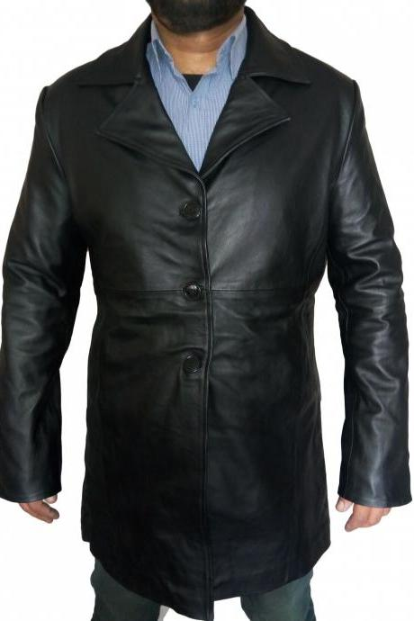 Men High Quality Lambskin Long Coat Leather Coat Jacket