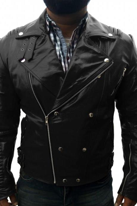 Slim Fit Men Black Fashion Leather Jacket Men